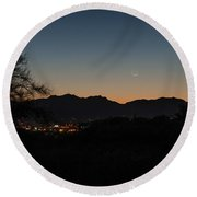 Round Beach Towel featuring the photograph Venus And A Young Moon Over Tucson by Dan McManus