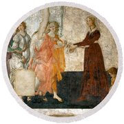 Venus And The Three Graces Offering Presents To A Young Girl Round Beach Towel