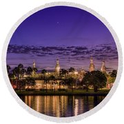 Venus Over The Minarets Round Beach Towel