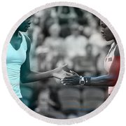 Venus Williams And Serena Williams Round Beach Towel by Marvin Blaine