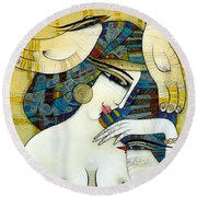 Venus With Doves Round Beach Towel
