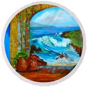 Veranda Ocean View Round Beach Towel