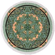 Verdigris Leaf And Branch Round Beach Towel