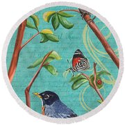 Verdigris Songbirds 1 Round Beach Towel
