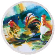 Round Beach Towel featuring the painting Veridian Chicken by Kathy Braud