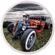 Vermin's Diner Rat Rod Front Round Beach Towel by Gill Billington