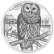 Vermont Barred Owl Round Beach Towel