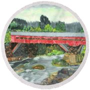 Vermont Covered Bridge Round Beach Towel