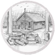 Vermont Hunter Lodge Round Beach Towel
