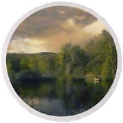 Round Beach Towel featuring the painting Vermont Morning Reflection by Jeff Kolker
