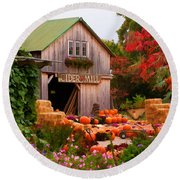 Vermont Pumpkins And Autumn Flowers Round Beach Towel
