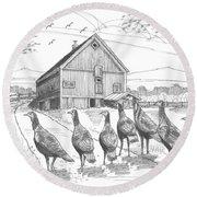 Vermont Wild Turkeys Round Beach Towel