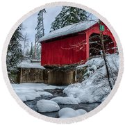 Vermonts Moseley Covered Bridge Round Beach Towel