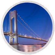 Verrazano Bridge Before Sunrise  Round Beach Towel by Michael Ver Sprill