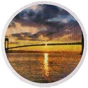 Verrazano Bridge During Sunset Round Beach Towel