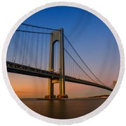 Verrazano Bridge Sunrise  Round Beach Towel by Michael Ver Sprill
