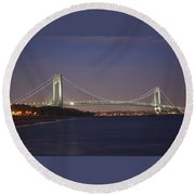 Verrazano Narrows Bridge At Night Round Beach Towel