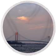 Verrazano Narrows Bridge At Sunset Round Beach Towel