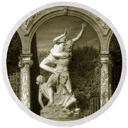 Versailles Colonnade And Sculpture Round Beach Towel