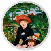 Version Of Renoir's Two Sisters On The Terrace Round Beach Towel by Cyril Maza