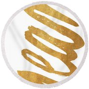 Vertical Gold Dream Round Beach Towel