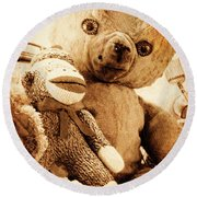 Very Old Friends Round Beach Towel