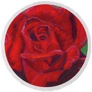 Very Red Rose Round Beach Towel