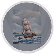 Vessel In The Sea Round Beach Towel