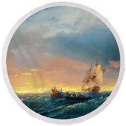 Vessels In A Swell At Sunset  Round Beach Towel