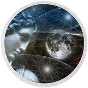 Vestal Moon Round Beach Towel by Rosa Cobos