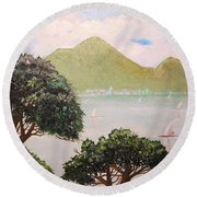Vesuvius And Umbrella Pine Tree II Round Beach Towel