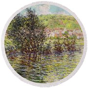 Vetheuil, View From Lavacourt, 1879 Oil On Canvas Round Beach Towel