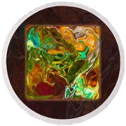 Vibrant Fall Colors An Abstract Painting Round Beach Towel