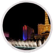 Vibrant Las Vegas - Bellagio's Fountains Paris Bally's And Flamingo Round Beach Towel