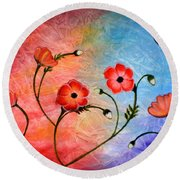 Vibrant Poppies Round Beach Towel