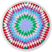 Vibrant Quilt Round Beach Towel by Art Block Collections