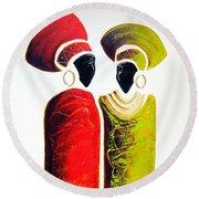 Vibrant Zulu Ladies - Original Artwork Round Beach Towel