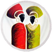 Vibrant Zulu Ladies - Original Artwork Round Beach Towel