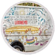 Vic And Nat'ly And The Leidenheimer Po-boy Truck - New Orleans Round Beach Towel