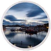 Victoria Harbor Nightscapes Round Beach Towel
