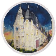The Victorian Apartment Building By Rjfxx. Original Watercolor Painting. Round Beach Towel