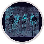Victorian High Wheel Bicyclists No.2 Round Beach Towel