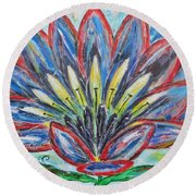 Round Beach Towel featuring the painting Hawaiian Blossom by Diane Pape