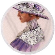 Victorian Lady In Lavender Lace Round Beach Towel