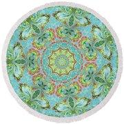 Round Beach Towel featuring the digital art Victorian Paisley Mandala by Deborah Smith