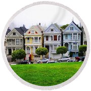 San Francisco Architecture Round Beach Towel by Oleg Zavarzin