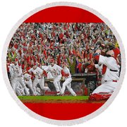 Victory - St Louis Cardinals Win The World Series Title - Friday Oct 28th 2011 Round Beach Towel by Dan Haraga