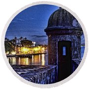Round Beach Towel featuring the photograph Viejo San Juan En La Noche by Daniel Sheldon