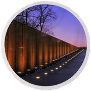 Vietnam Veterans Memorial At Sunset Round Beach Towel