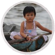 Vietnamese Girl On Lake Tonle Sap Round Beach Towel by Vivian Christopher